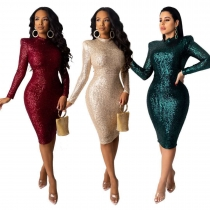 Fashion Sequins Round Neck Long Sleeves Mini Skinny Dress YKS11191