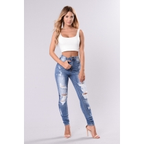 Fashion Solid Color Hole High Waist Skinny Jeans M216