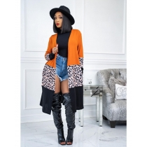 Fashion Contrast Stitching Leopard Printed Long Sleeves Midi Cardigan MTY6381