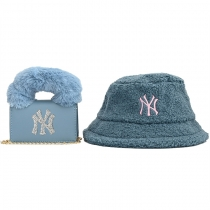 Fur Women Embroidery Hats With One Shoulder Chain Bags Sets PS-8006