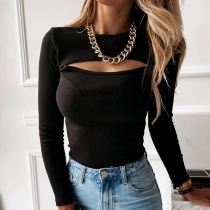 Sexy Knitted Round Neck Long Sleeves Hollow Out Tops 20441P