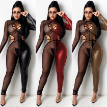 Sexy Mesh Stitching Hollow Out Long Sleeves Lace-Up Leather Jumpsuit C5011