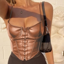 Sexy Leather Suspenders Backless Mini Skinny Tops K20L09821