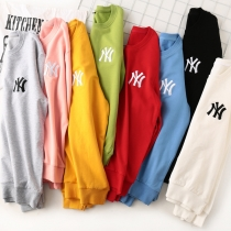Trendy brand NY Yankees embroidered sweater men and women couple loose cotton white sweater casual ins sweater top M626171750898