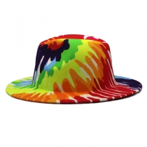 Colorful top hat, bright color jazz hat, felt hat, tie dye, imitation wool top hat ZR002