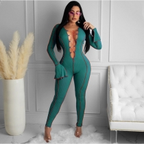 Sexy Strappy Deep-V Flared Sleeves Skinny Jumpsuit P0B3732W