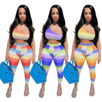 Fashion women's colorful gradient color positioning printing 2-piece set HR8159