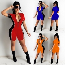 Women's fashion casual sexy solid color stitching mesh zipper pull-up slim short-sleeved jumpsuit SM9152