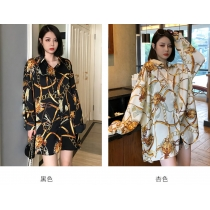 Women's new lapel multicolor big gold chain printing single-breasted shirt thin top QY5049