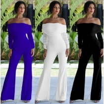 Solid color pleated one-shoulder flared jumpsuit dinner NS4405