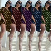 Plus size women's fashion casual printed top high slit loose T-shirt shorts two-piece suit SM9163