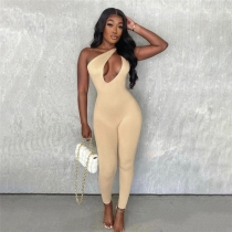 Summer new style high waist tight-fitting sleeveless casual sports jumpsuit women K21Q00780