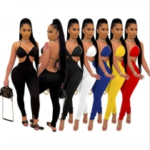 Solid color open back sexy jumpsuit slim trousers nightclub outfit DD8091
