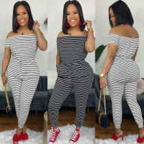 Women's Fashion Striped Home Comfortable Jumpsuit W2125