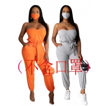 Fashion sexy tube top belt lace waist jumpsuit (without mask) W2132