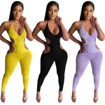 Women's clothing, suspenders, folds, open back, sexy trousers, jumpsuits LML220