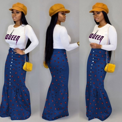 Fashion Lovely Bodycon Heart Pattern Long Skirt For Girls ED8148