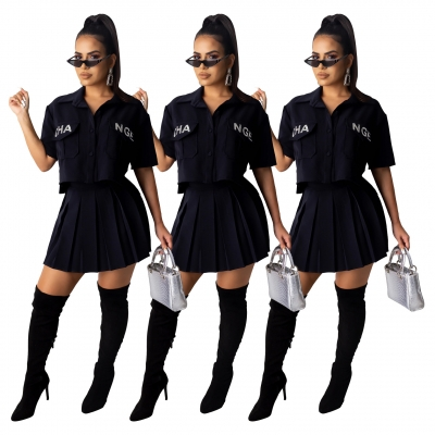 Casual Sets Letters Embroidered Short Sleeve Shirt Pleated Skirt SDD9198