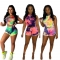 Sexy women's tight-fitting lace-up navel nightclub hooded sleeveless tie-dye printing suit MH7016