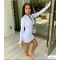 Fashion White Bodycon Dress Long Sleeves Sexy Fitness Dress FF1023
