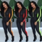 Wholesale Tight Color Splicing Sport Jumpsuit With Zipper ED8153