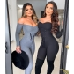 Autumn Solid Color Off Shoulder Long Sleeves Strappy Jumpsuit FF1053