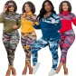 Fashion Camouflage Printed Zipper Long Sleeves Top With Trousers Plus Size Two Piece Sets OSS20895